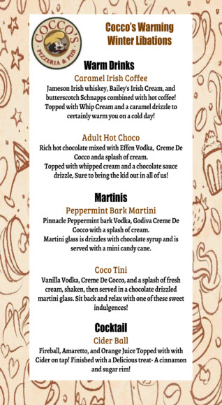Coccos Winter Libations Menu